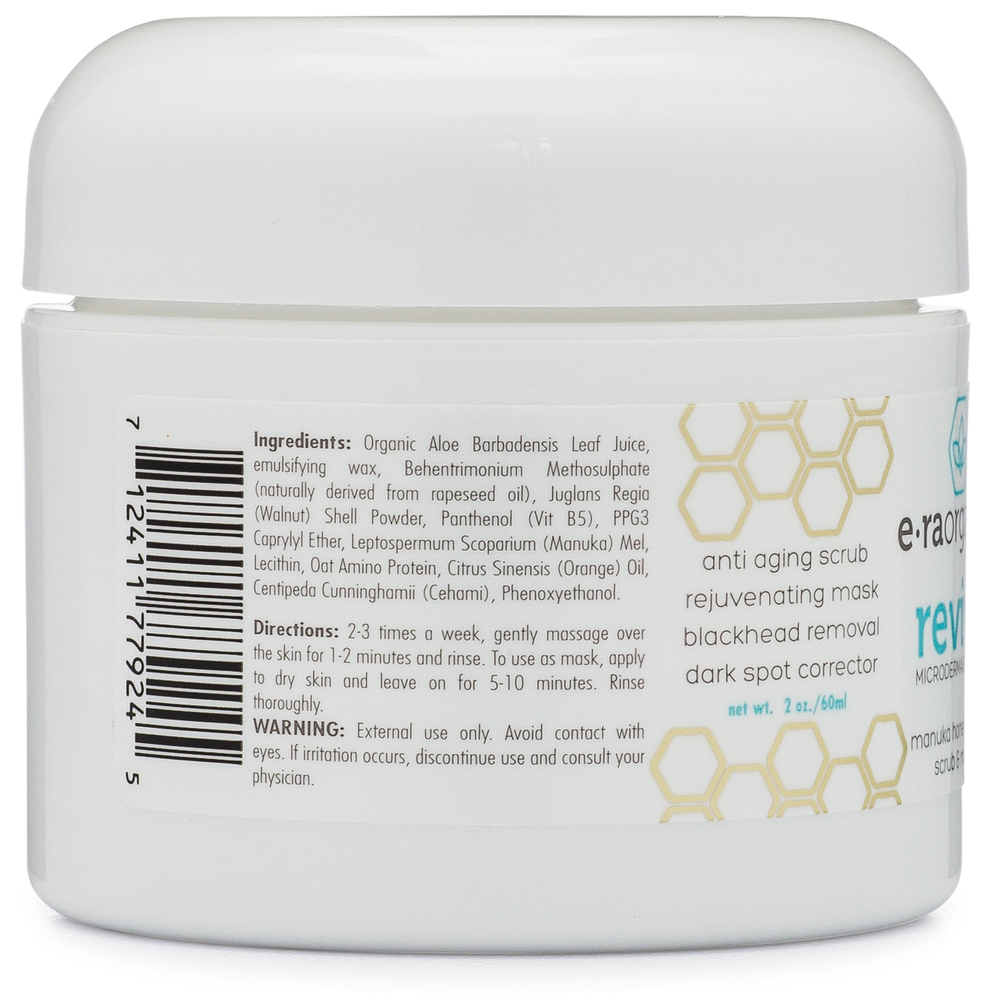 Microdermabrasion Facial Scrub & Face Exfoliator - Natural Exfoliating Face Mask with Manuka Honey & Walnut - Moisturizing Facial Exfoliant for Dull Dry Skin, Wrinkles, Acne Scars & More 2.0oz/56.6g by Era Organics (Image #9)