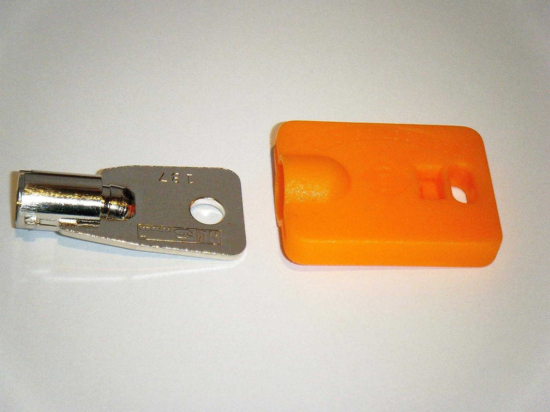 Elevator Fire Service Key and Orange ID Cap FEO-K1 KONE K1