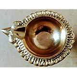 PSJS Combo of Traditional Kubera vilakku in Brass Without Stand with thiri Thread Pachai Kungumam, Pacha Camphor (1), Green
