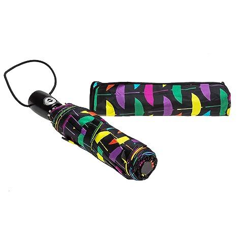 Paraguas Bolero plegable automático a prueba de viento, apertura y cierre con un botón,