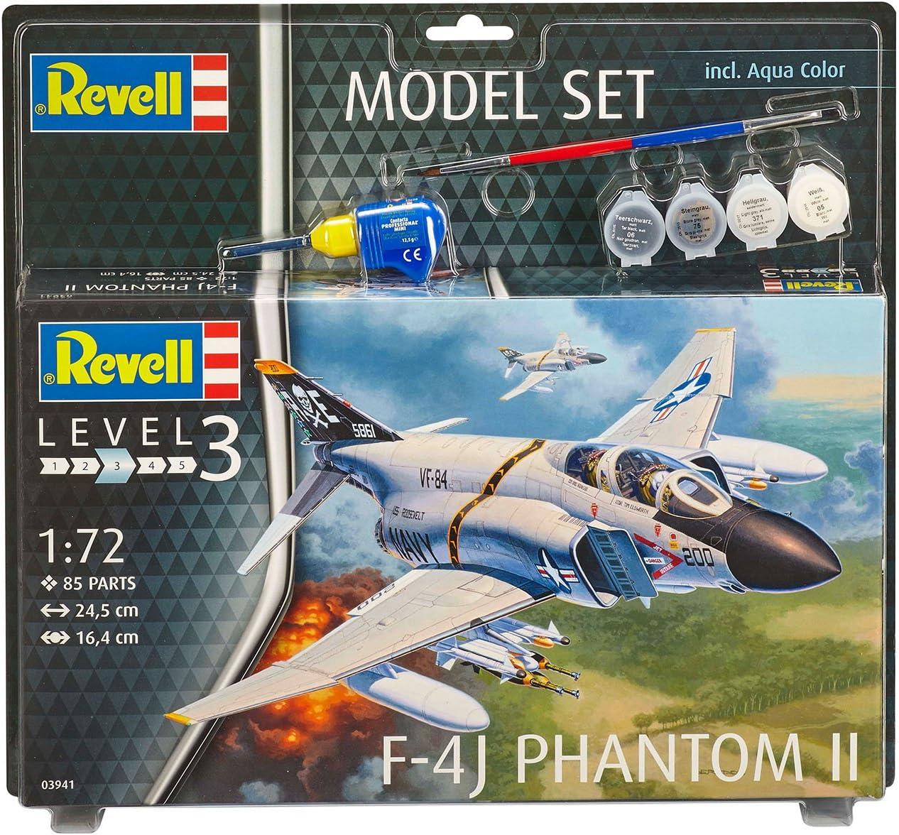 en Kit Modelo con Base Accesorios f/ácil Pegar y para pintarlas Escala 1:72 24,5cm 24,5 cm de Largo Revell Revell-F-4J I Set 63941 F-4J Phantom II