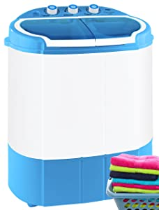 Pyle Portable Washer & Spin Dryer, Mini Washing Machine, Twin Tubs, Spin Cycle w/ Hose, 11lbs. Capacity, 110V - Ideal for Compact Laundry