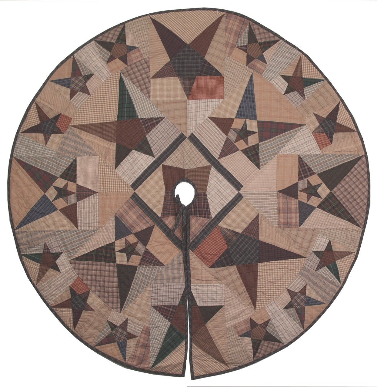 Primitive Star Quilted Christmas Tree Skirt 47 Inches Round 100% Cotton Handmade Hand Quilted Heirloom Quality
