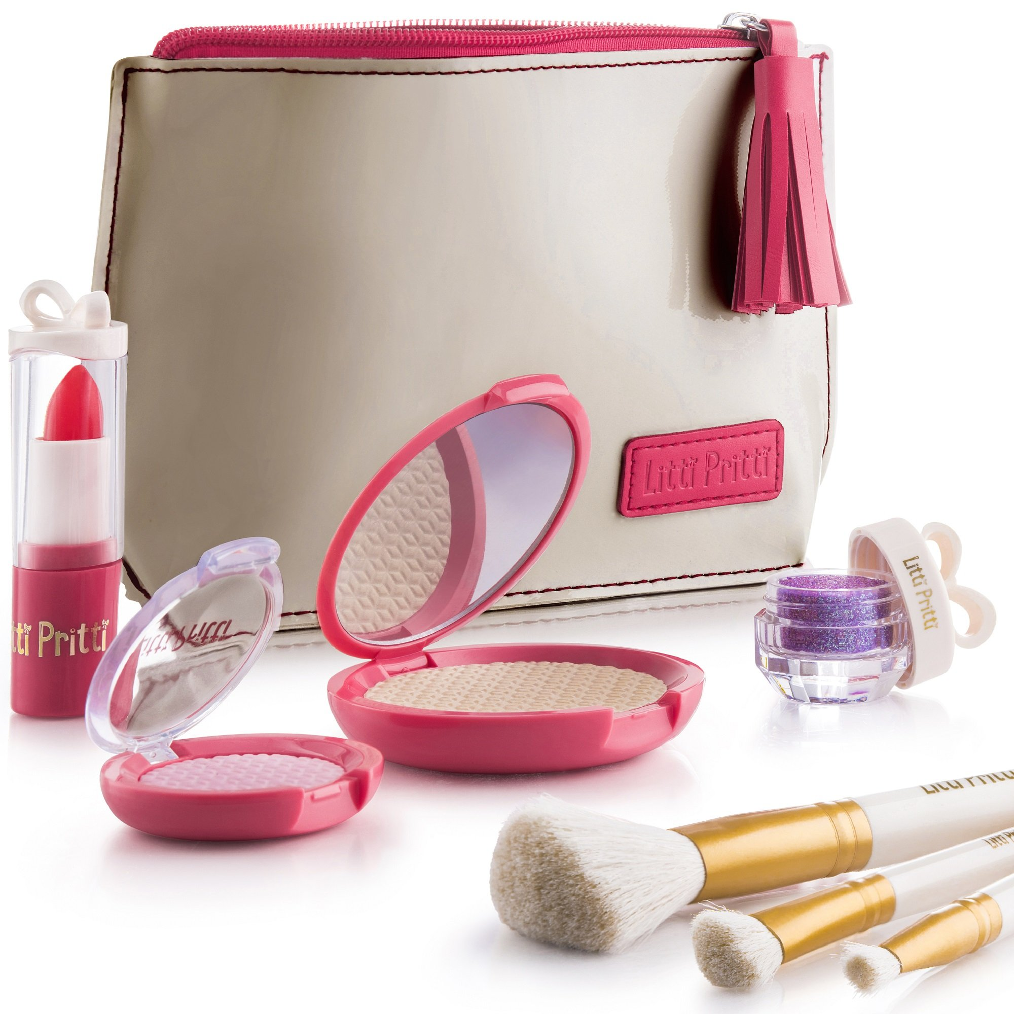 Litti Pritti Pretend Makeup for Girls Set - 8 Piece Cosmetic Play Makeup Kit - PU Leather Case by Litti Pritti