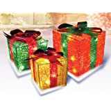 Northlight Set of 3 Pre-Lit Red, Green and Yellow Glistening Gift Box Christmas Outdoor Decorations