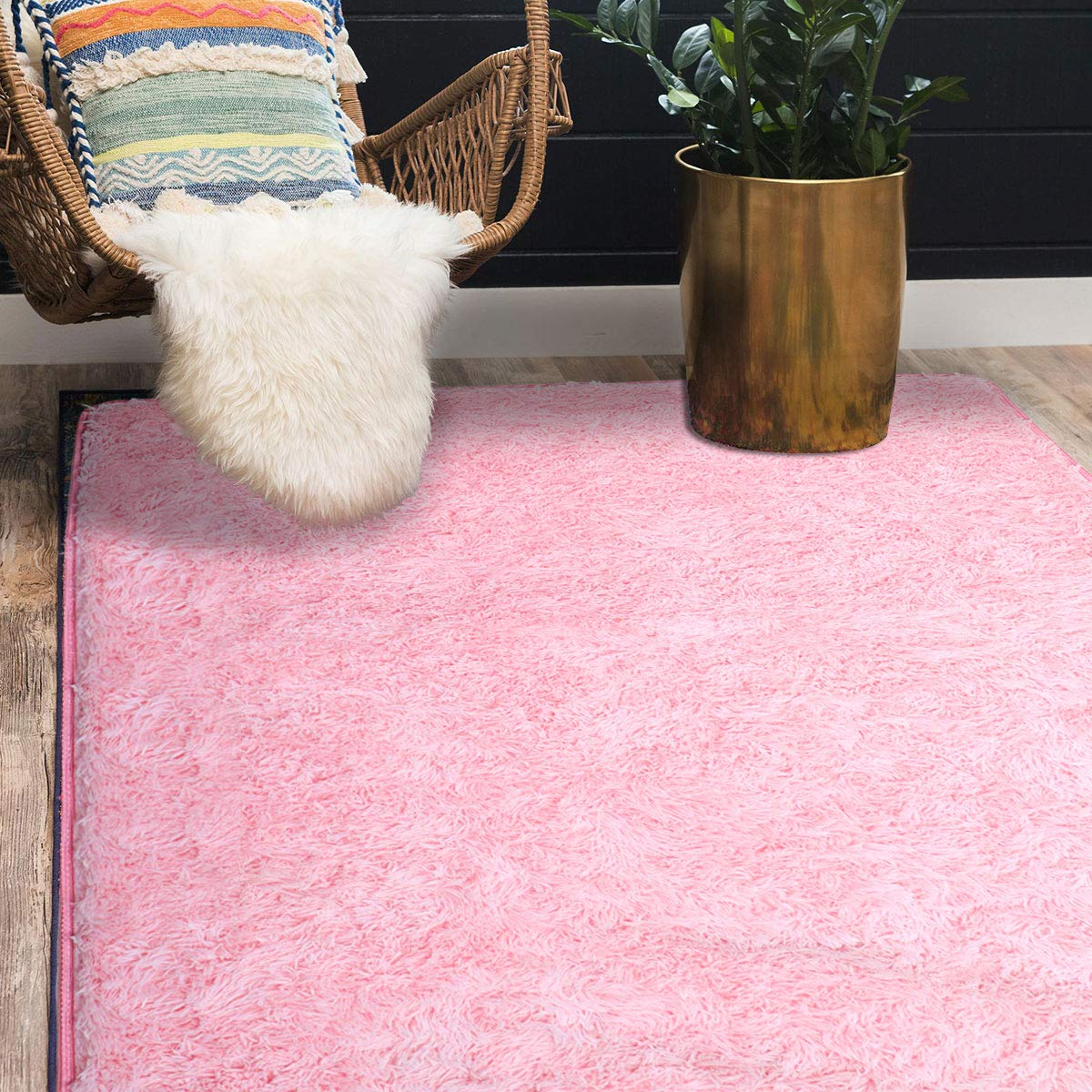 Supmaker Soft Indoor Modern Area Rugs Fluffy Living Room Carpets Suitable for Children Bedroom Decor Nursery Rugs 4 Feet by 5.3 Feet