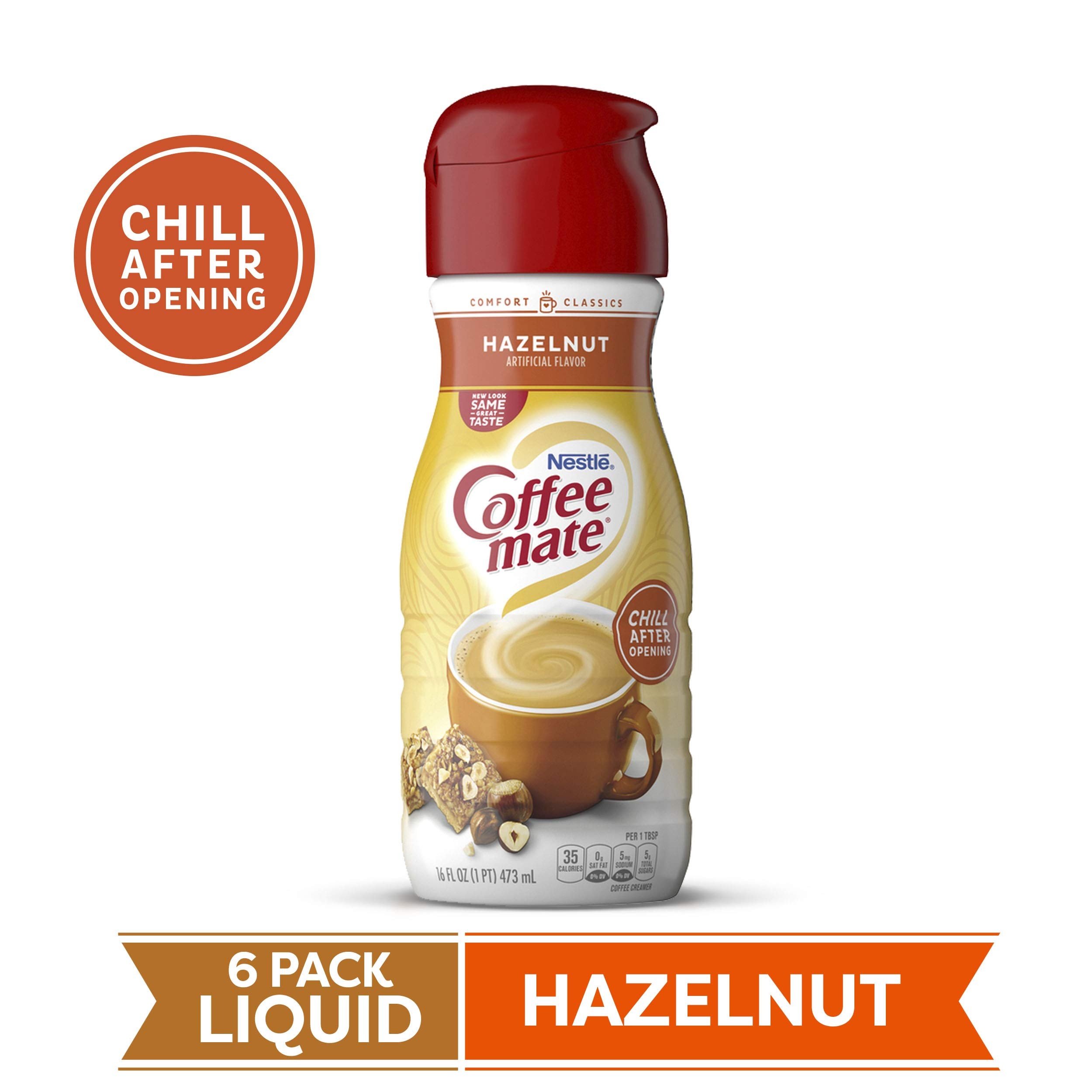 Coffee Mate Liquid Creamer, Hazelnut, 16 oz., 6 Count by Coffee Mate