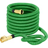 VicTsing Upgraded 50ft Expanding Garden Hose, Strongest Expandable Hose with Solid Brass Connector, Denier Woven Casing for Watering Plants, Auto Wash, Cleaning Patio + Free Storage Bag (Green)
