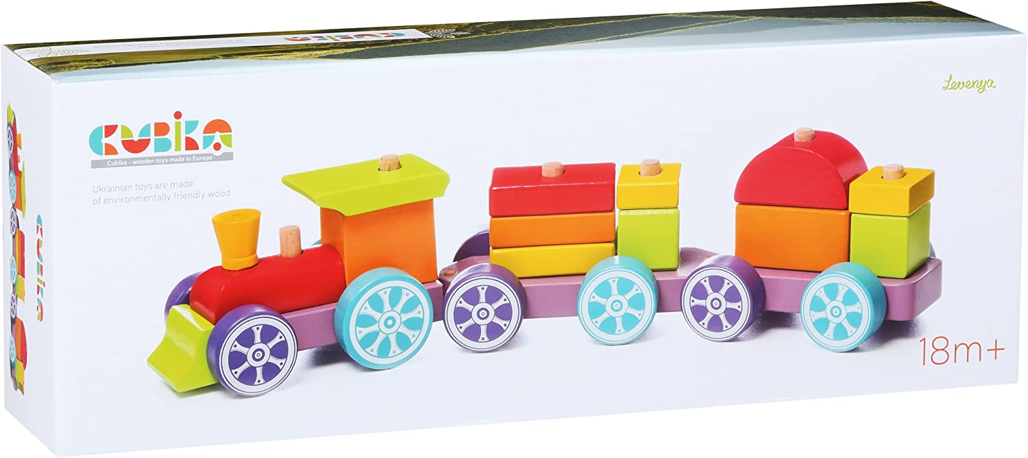 Learning Train for Kids with Bright Blocks Color and Shape Sorter. Greaf Gift for Toddlers from 18 Month Wise Elk Shape Sorter Train with Wooden Blocks for Toddlers