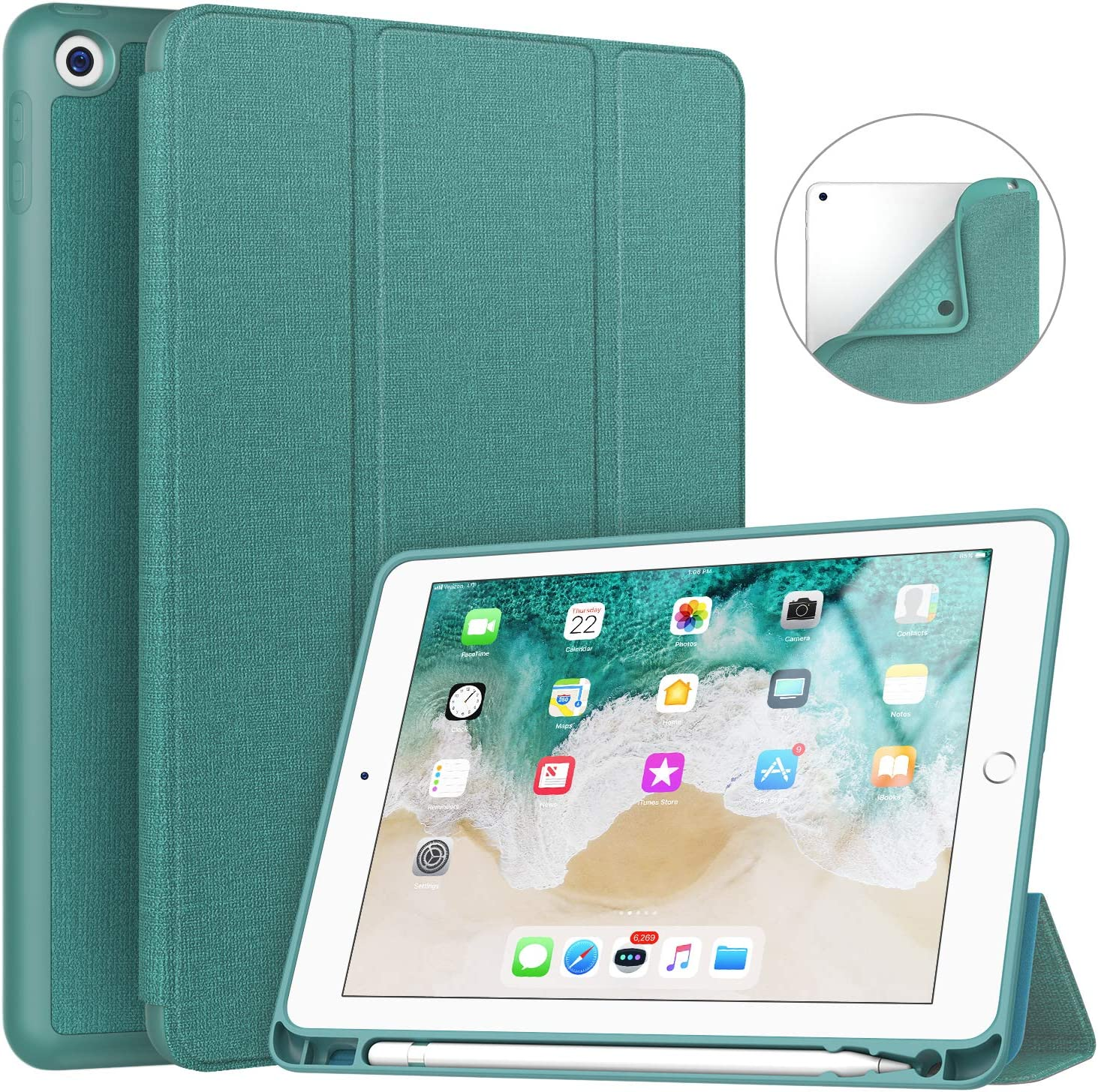 Soke iPad 9.7 2018/2017 Case with Pencil Holder, Smart iPad Case Trifold Stand with Shockproof Soft TPU Back Cover and Auto Sleep/Wake Function for iPad 9.7 inch 5th/6th Generation, Lake Blue