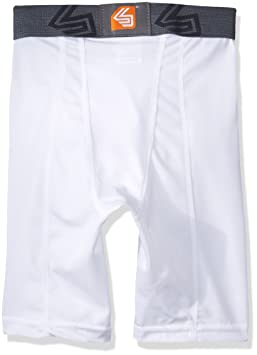 d387820d15 Shock Doctor Mens Power Compression Protective Shorts with Cup Pocket   Amazon.co.uk  Sports   Outdoors