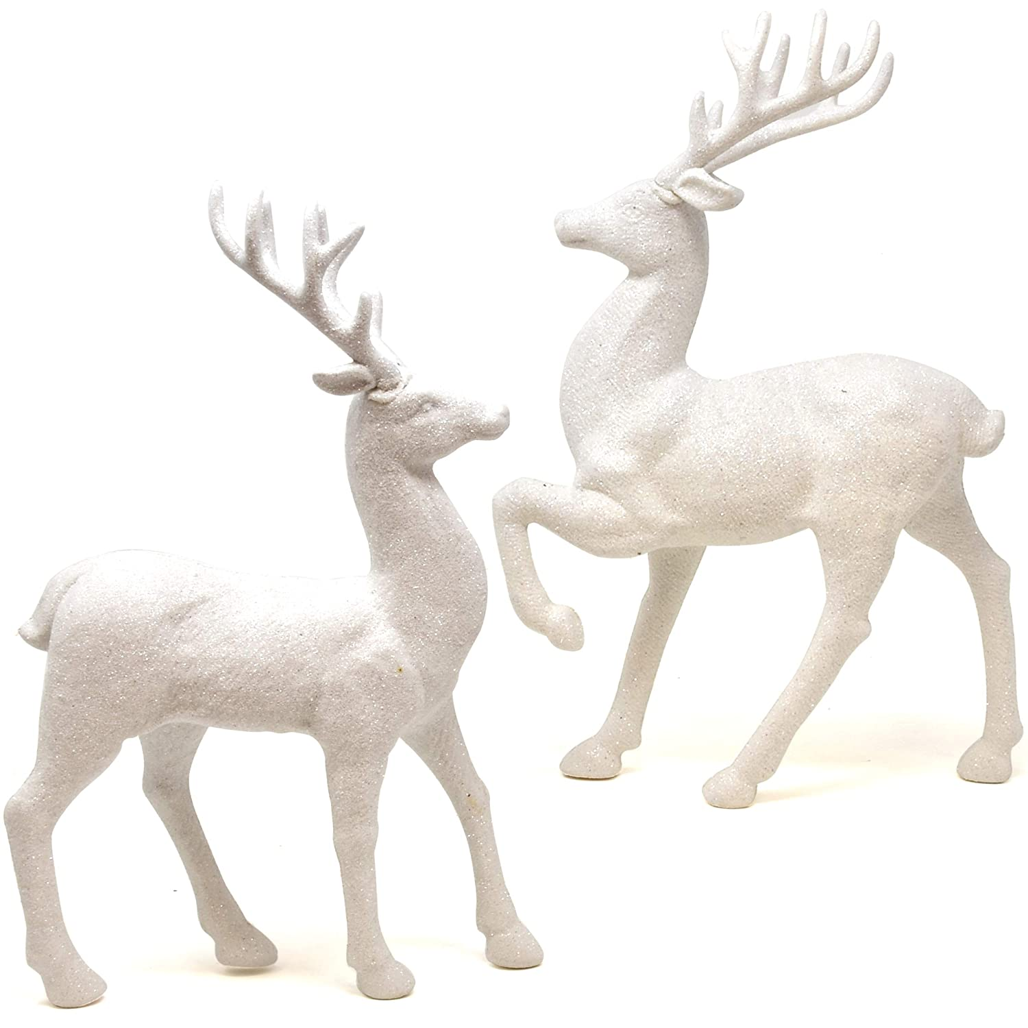 Gift Boutique 2 Holiday Reindeer Figures 12.5 Inches Silver Glitter Table Decorations for Dinner Party Coffee Merry Christmas Deer Decor Happy Holidays Centerpiece