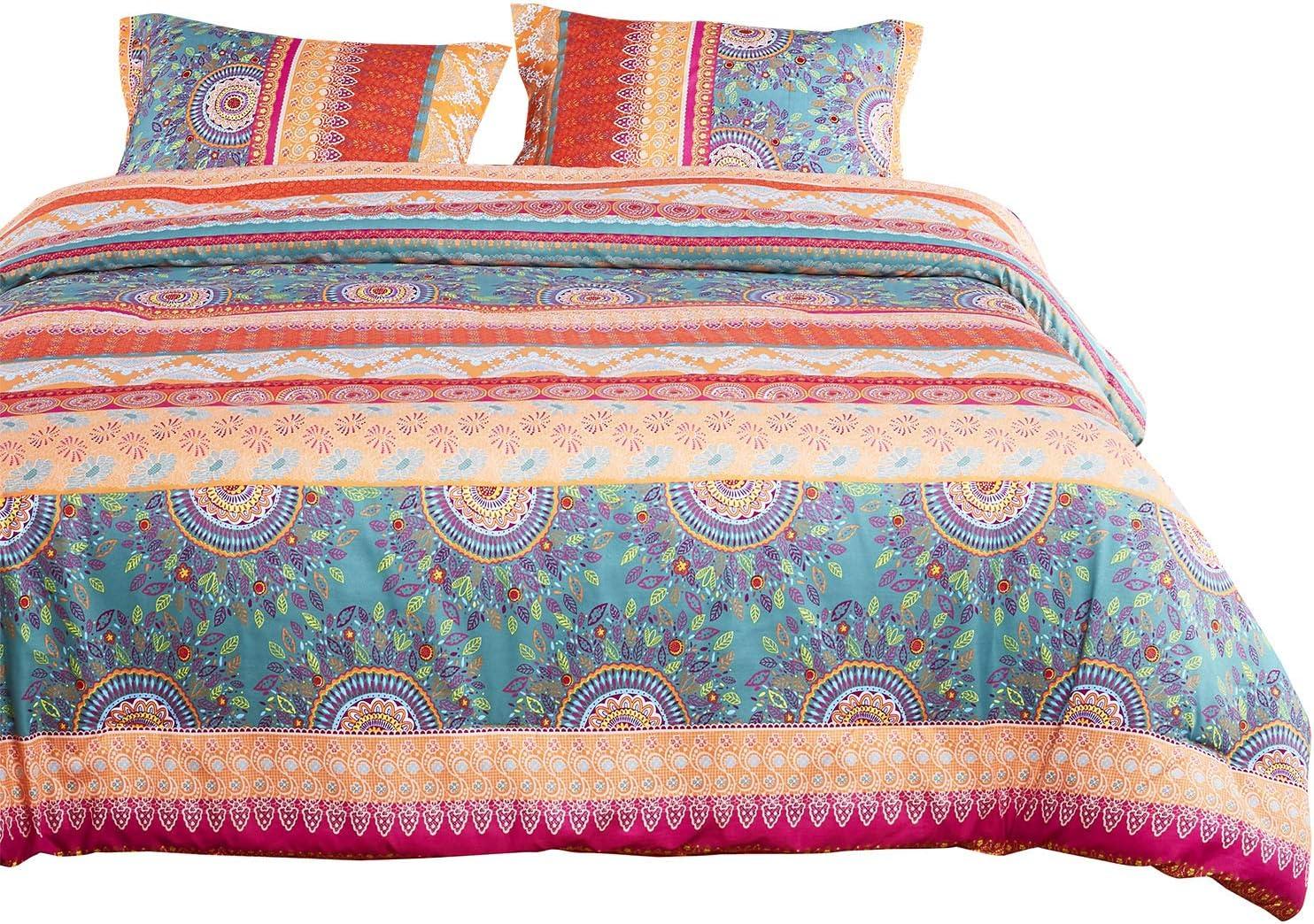 Wake In Cloud - Bohemian Duvet Cover Set, Orange Coral Boho Chic Mandala Printed Soft Microfiber Bedding, with Zipper Closure (3pcs, King Size)