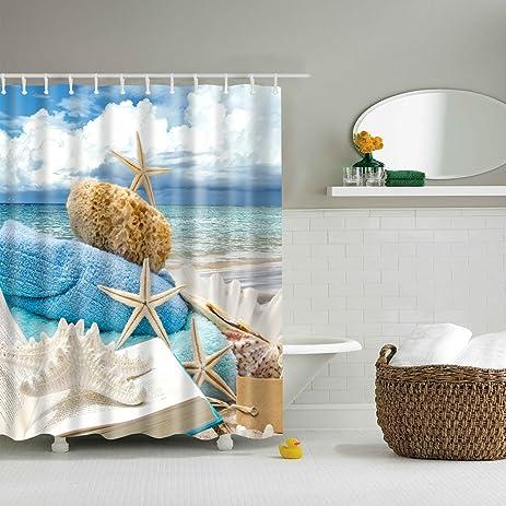 Amazon.com: ABxinyoule Clear Sky Beach Starfish Shower Curtain ...
