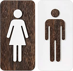 Dahey Men's and Women's Bathroom Sign Funny Restroom Sign Wall Decor Bathroom Door Signs for Rustic Home Office Store or Restaurant, 2 Pack
