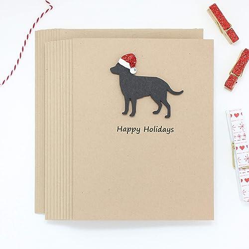 Dog Christmas Card Photo.Amazon Com Dog Christmas Cards Labrador Retriever Single