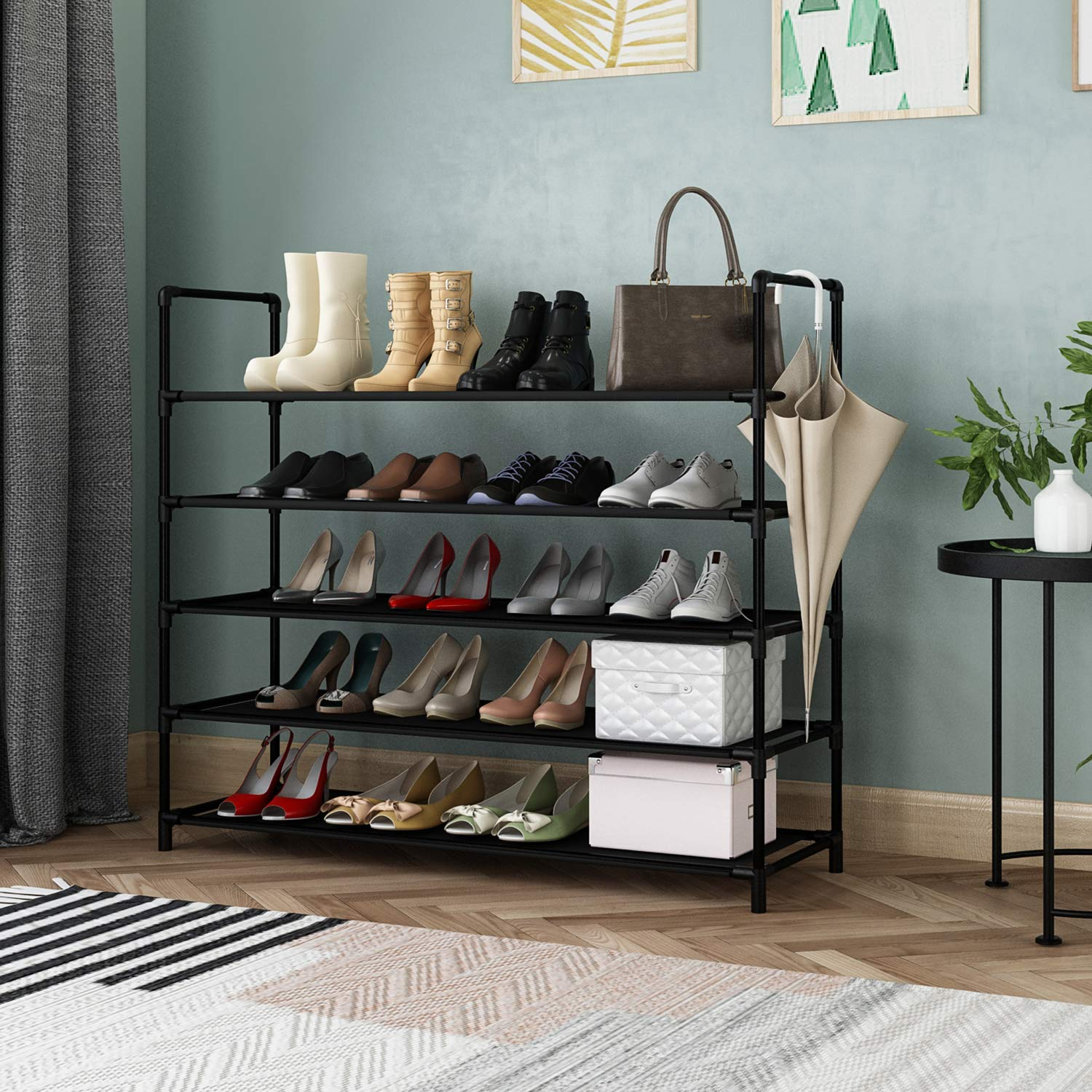 KIKIONLIFE 5 Tiers Shoe Rack Tower Storage Organizer Cabinet Black