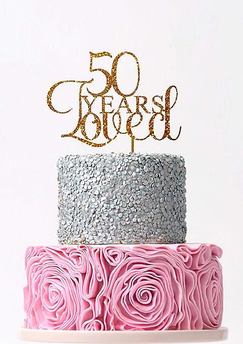Decoración para tarta de 50 años con texto en inglés