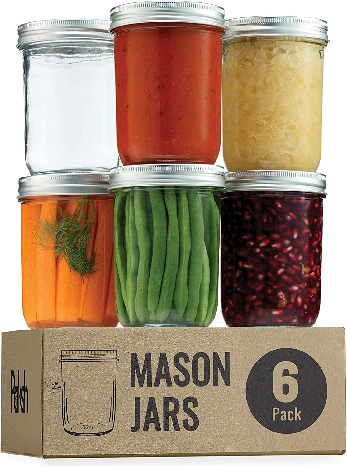 Wide Mouth Glass Mason Jars, 16 Ounce Glass Canning Jars with Silver Metal Airtight Lids and Bands with Chalkboard Labels, for Canning, Preserving, Meal Prep, Overnight Oats, Jam, Jelly, (6 Pack)