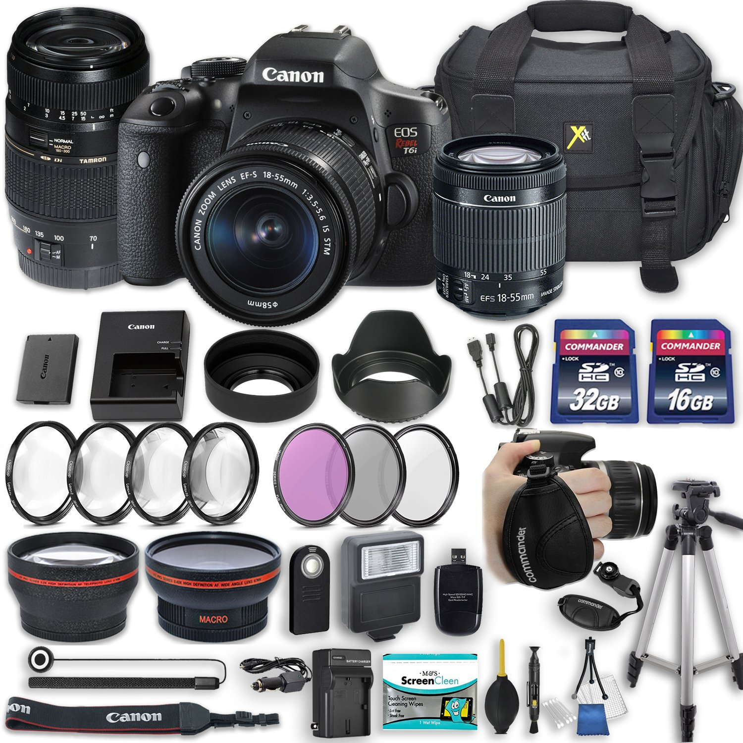 Canon EOS Rebel T6i 24.2 MP DSLR Camera with Canon EF-S 18-55mm f/3.5-5.6 IS STM Lens + Tamron 70-300mm f/4-5.6 Di LD Lens + 2 Memory Cards + 2 Aux Lenses + 50'' Tripod + Accessories Bundle (24 Items) by Canon