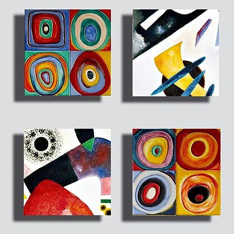 Quadri Moderni KANDINSKY 4 pz. pezzi giallo blu rosso Stampa su Tela CANVAS  Arredamento XXL Arredo soggiorno salotto camera da letto cucina ufficio ...