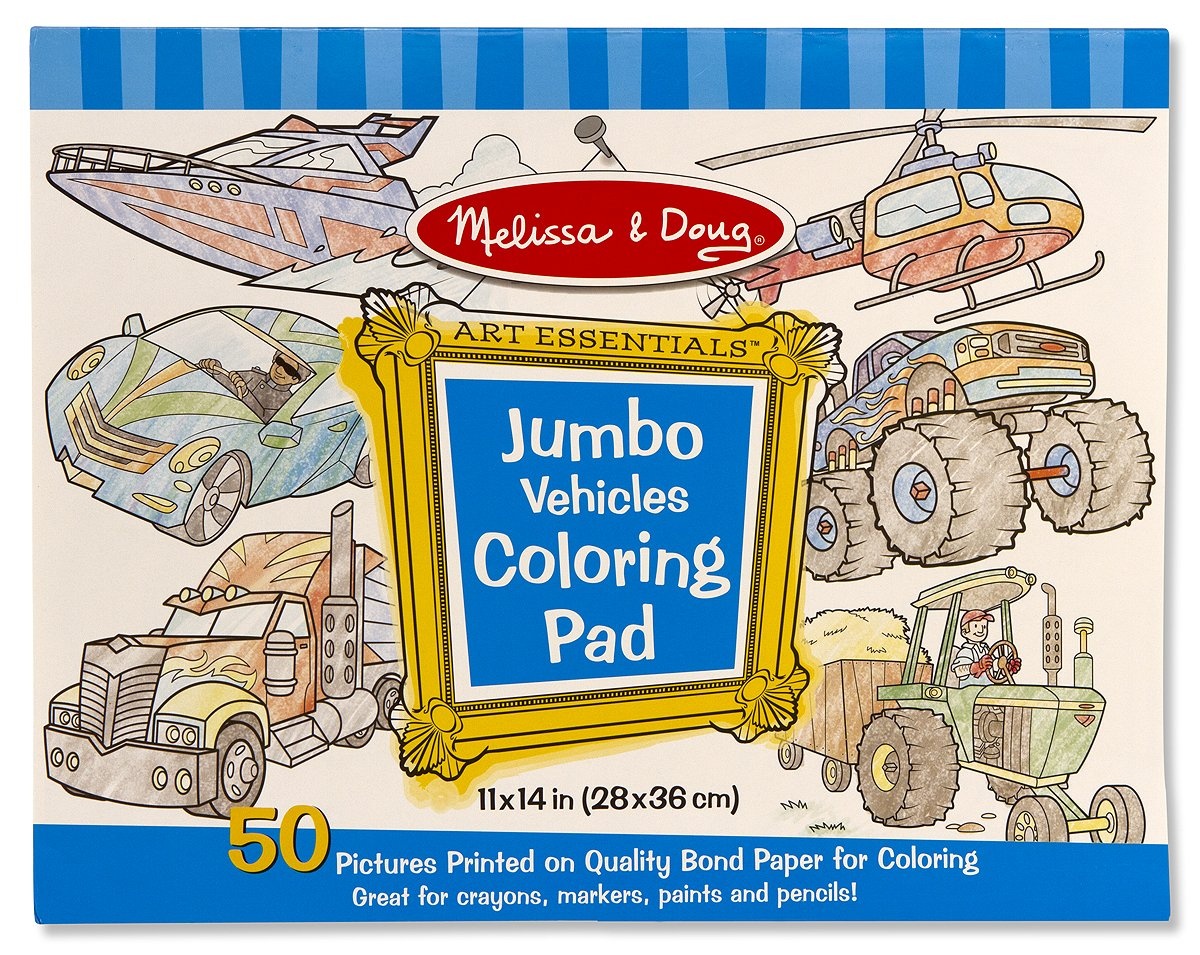 Amazon.com: Melissa & Doug Jumbo Coloring Pad: Vehicles - 50 Pages ...