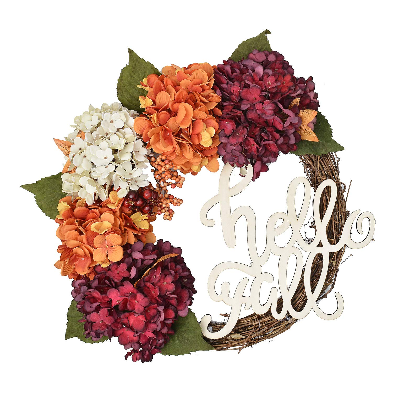 FAVOWREATH 2018 Vitality Series FAVO-W129 Handmade 16 inch Hydrangea,Hello Fall Letter,Laurel/Eucalyptus Leaf,Grapevine Wreath Summer/Fall Front Door/Wall/Fireplace Floral Hanger Home Every Day Decor by FAVOWREATH