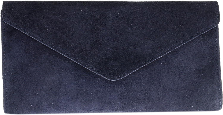 Girly Handbags Mujer Cuero de Gamuza Envelope Clutch Pulsera Piel Auténtica Rígido Bolso bandolera