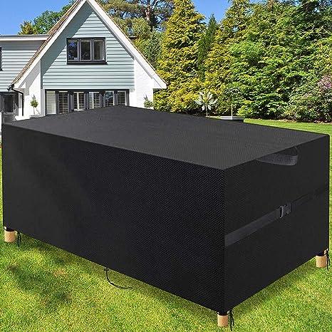 Copertura Tavolo Esterno in Tessuto Oxford Resistente Anti-UV Antivento Copertura Protettive per Mobili da Giardino Copertura per mobili da Giardino Rettangolare