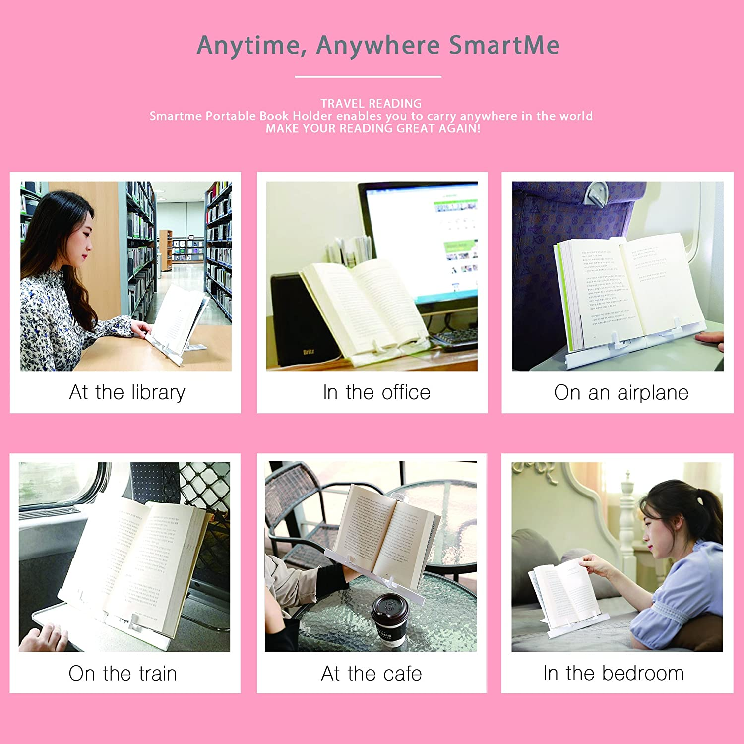 Portable Book Stand Ultra-Light Weight 0.33lb Transformer Book Holder SmartMe Reading Stand Document Holder Angle Adjustable Smart Pad Mount