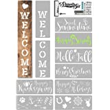 KIBAGA Reusable Seasonal Stencils for Painting on Wood and More - Easy Paint Welcome Sign Stencil for Front Door, Porch or Ou