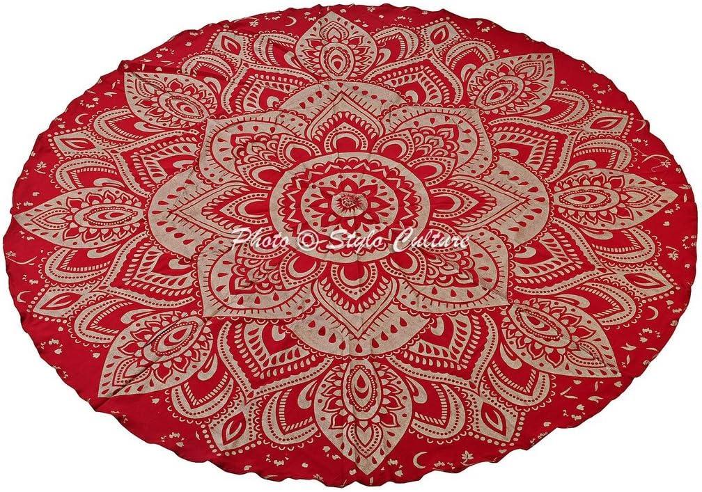 Amazon.com: Indio Mandala Roundie esterilla de rojo Impreso ...