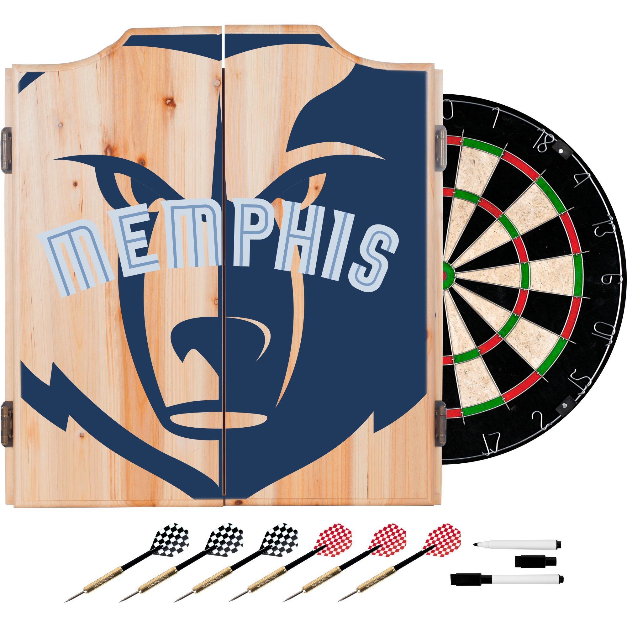 Trademark Gameroom NBA7010-MG2 NBA Dart Cabinet Set with Darts & Board - Fade - Memphis Grizzles by Trademark Global