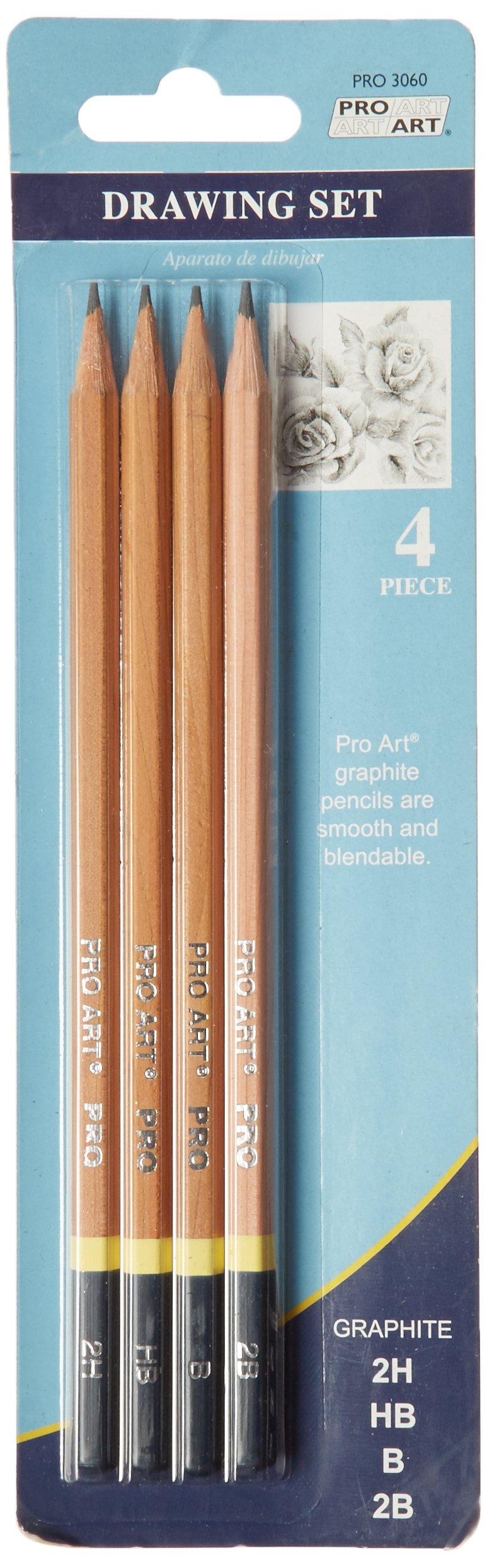 Pro Art Drawing Pencils 4/Pkg, 2H, HB, B & 2B