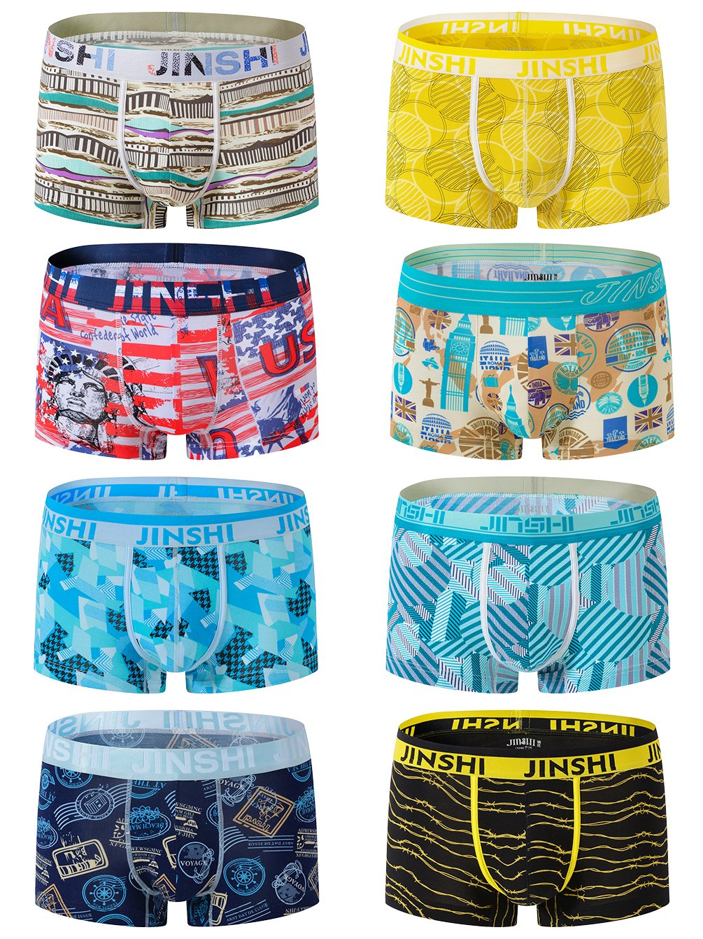 JINSHI Men's Boxer Briefs Athletic Soft Printed Bamboo Underwear 8 Pack 02 US XS/CN M
