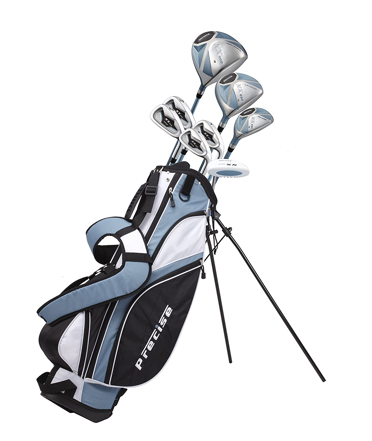 Precise Nx460 Ladies Womens Complete Golf Clubs Set Includes Driver, Fairway, Hybrid, 4 Irons, Putter, Bag, 3 H/C's   2 Sizes   Regular And Petite Size! by Precise