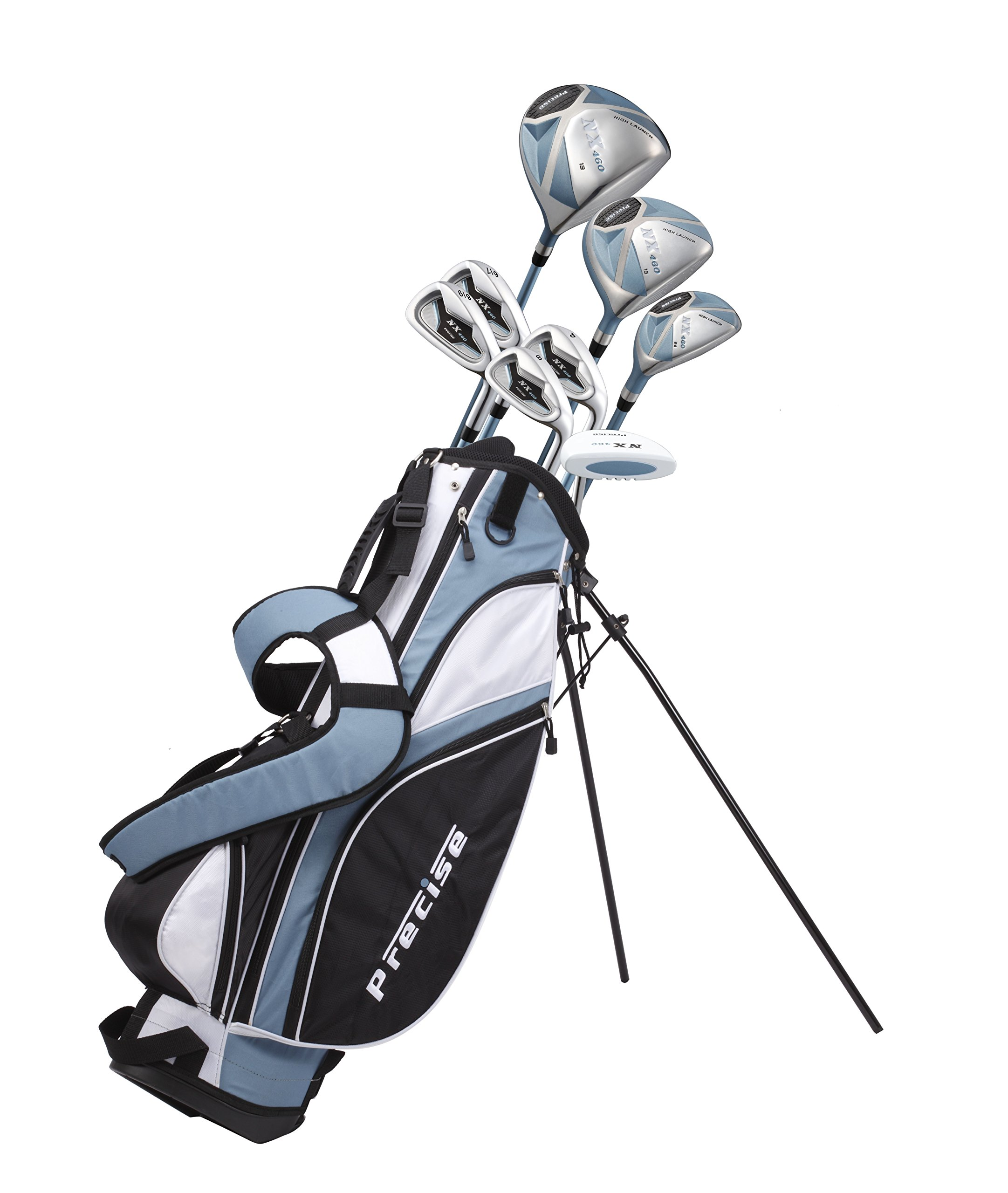Precise NX460 Ladies Womens Complete Golf Clubs Set Includes Driver, Fairway, Hybrid, 4 Irons, Putter, Bag, 3 H/C's - 2 Sizes - Regular and Petite Size! (Right Hand Petite Size 5'3'' and Below)