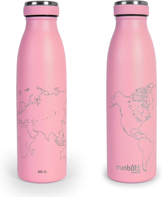 Botella Térmica Runbott City World Map Edition 500ml, Doble Capa de Acero 316 y Silicona, Cero Plásticos. Color