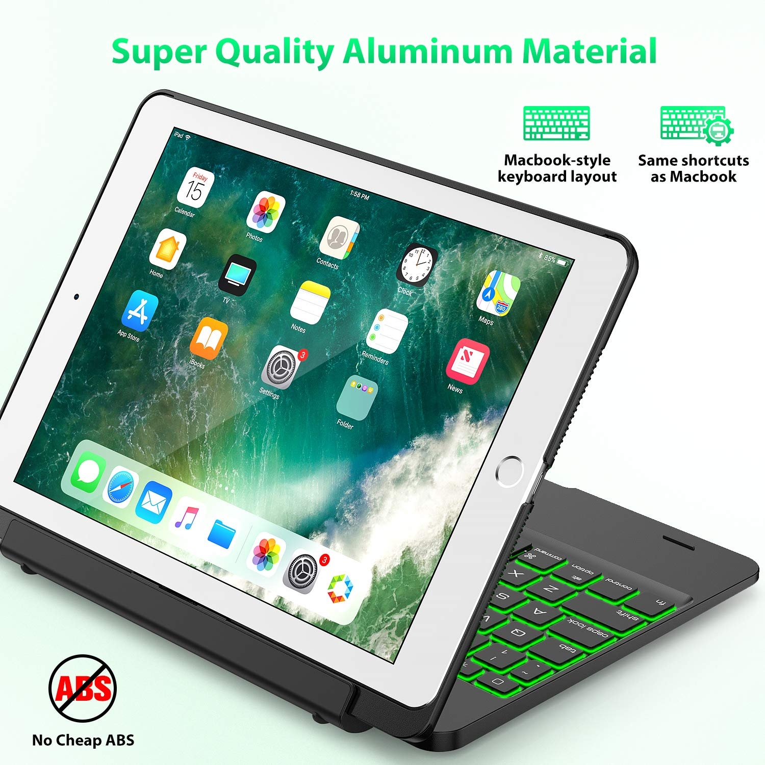 Keyboard Case Compatible with iPad 2018 (6th Gen), iPad 2017 (5th Gen), iPad Pro 9.7,'' and iPad Air 1 and 2 - Features Detachable Design, Rotating Hinge and Adjustable Backlight (Black) by Tezzionas (Image #4)
