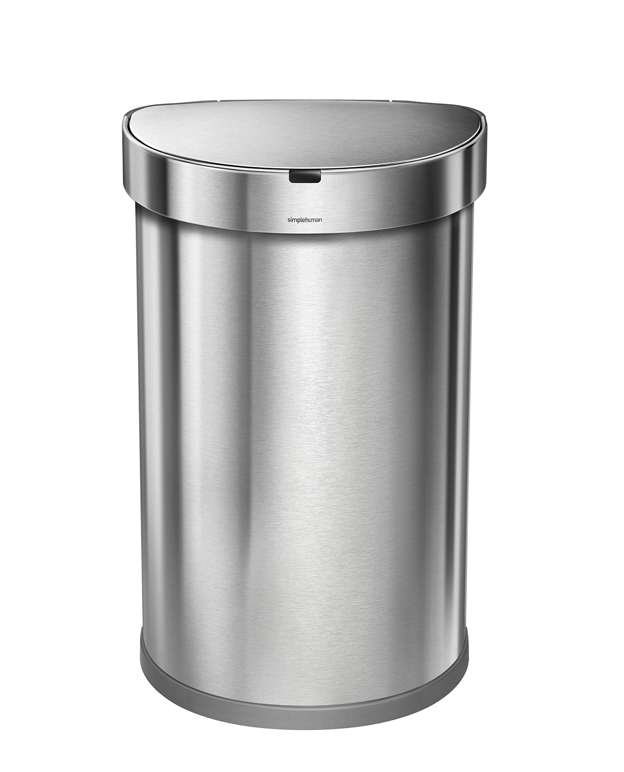simplehuman 45L Semi-Round Sensor Can, Automatic/Touchless Kitchen Trash Can, Brushed Stainless Steel, 45 L / 11.8 Gal
