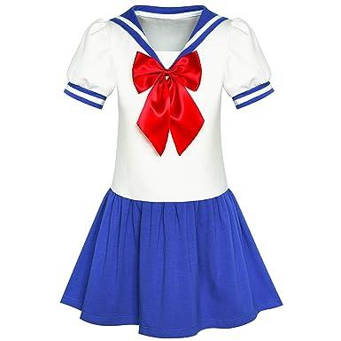 c36f0375933ba9 Amazon.com: Sunny Fashion Girls Dress Sailor Moon Cosplay School Uniform  Navy Suit Size 6-12: Clothing