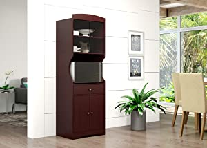 Home Source Microwave Stand with Sliding Glass Cabinet, 1 Drawer, and Double Door Lower Cabinets (Espresso)