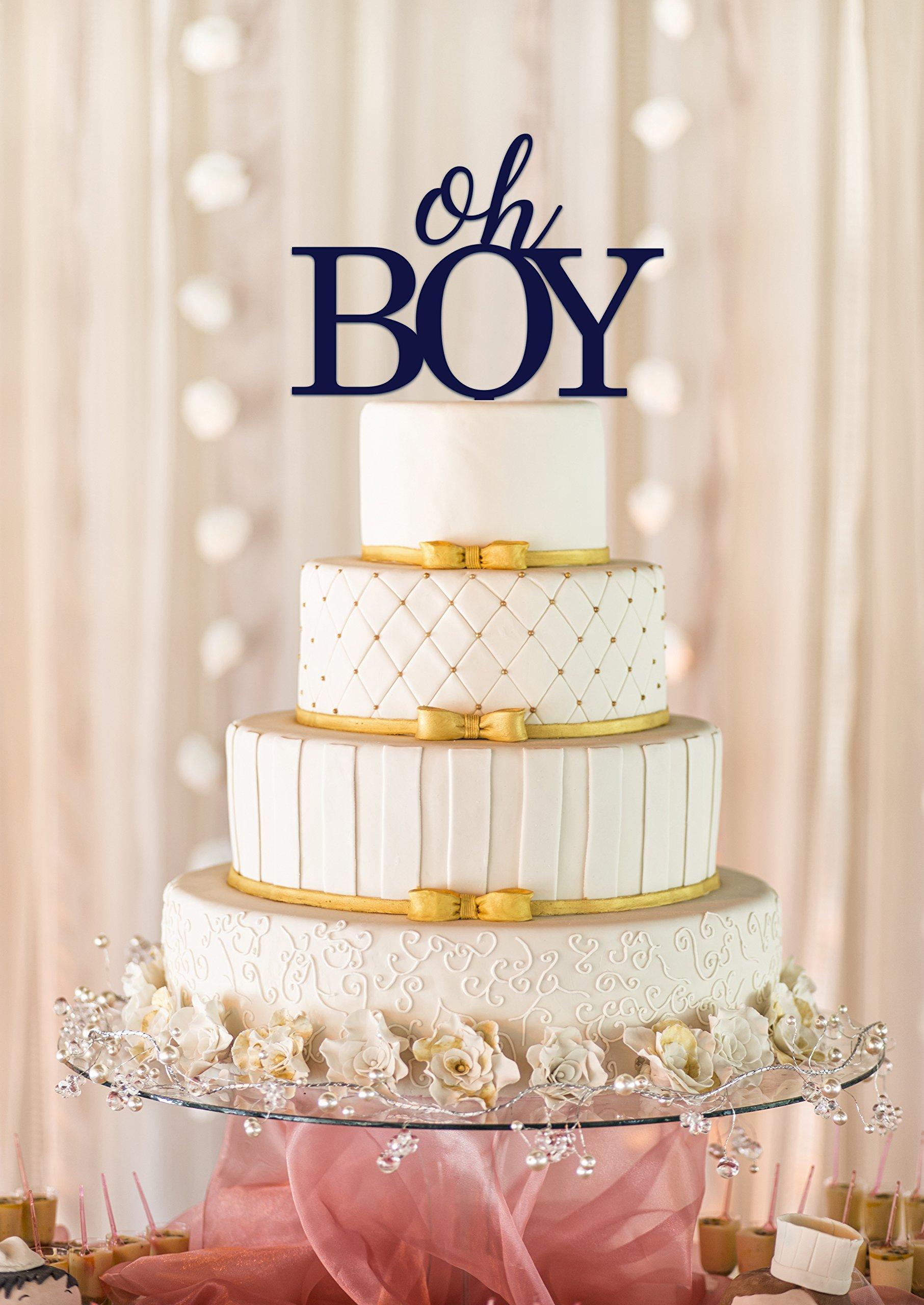 Oh Boy Cake Topper, Baby Shower Cake Topper, Baby Shower Decor, Gender Reveal Cake Topper (6'', Dark Blue)