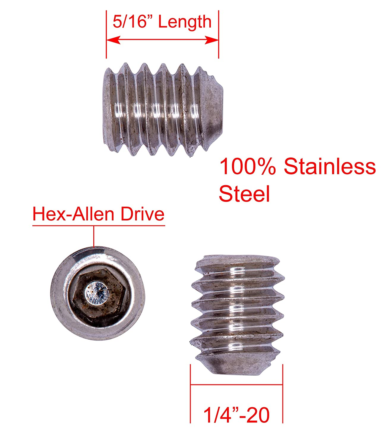 5//16-18 X 3//8 Stainless Set Screw with Hex Allen Head Drive and Oval Point 25 pc 18-8 Stainless Steel Screws by Bolt Dropper 304
