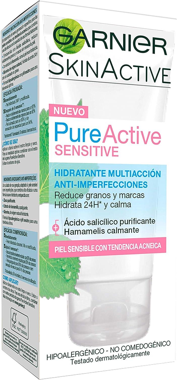 Garnier Skin Active - Pure Active Sensitive, Crema Hidratante Facial Mujer de Día, Anti Imperfecciones, para Pieles Sensibles, 50 ml