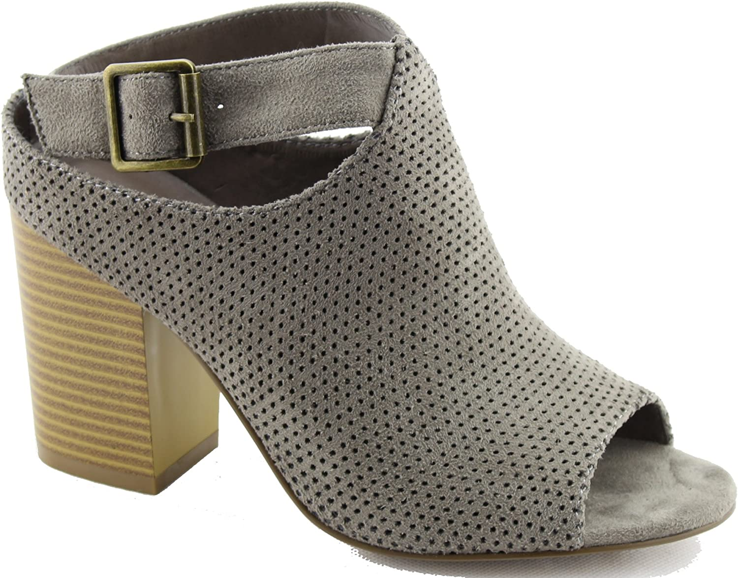 Women Leatherette Peep Toe Perforated Chunky Heel Bootie GG36 Stone Suede