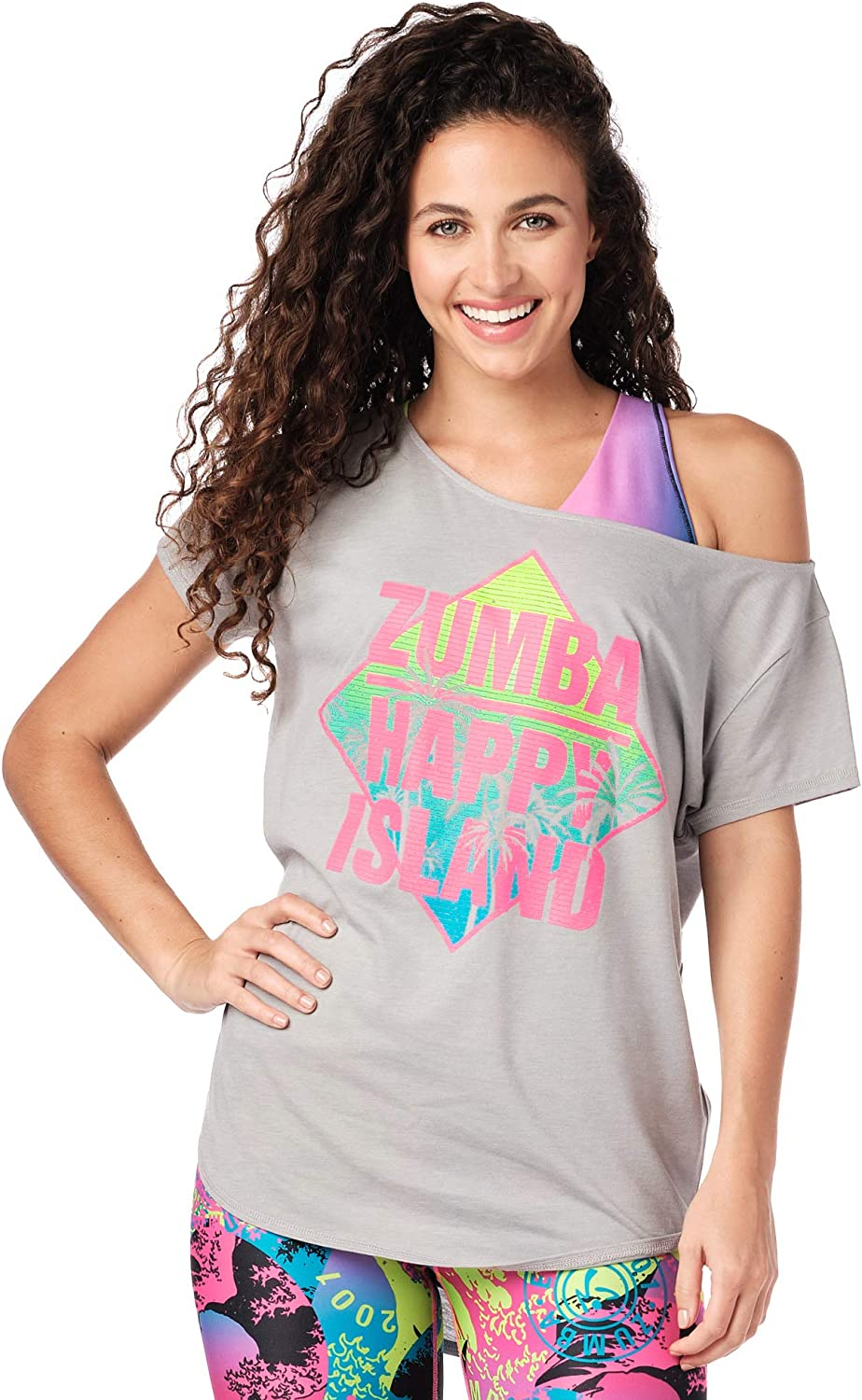 Zumba Loose Fitting Dance Fitness Graphic Tees Athletic Workout Top for Women