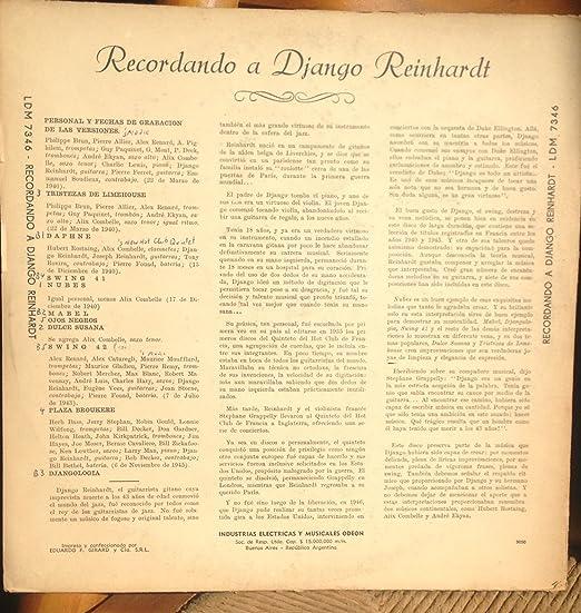 Django Reinhardt - Recordando a Django Reinhardt Original 10-inch ...