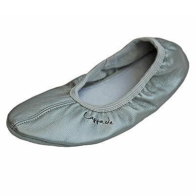 209–Zapatillas de gimnasia, zapatillas de ballet, schläppchen, Turn schlä ppchen, zapatos de baile con suela de piel de lappade Talla 28–46Plata