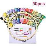 KING DO WAY 刺繍セット 刺繍枠5本 竹製 刺繍糸50束 刺繍針30本 刺繍用布 18x12インチ 14カウント (50pcs竹)